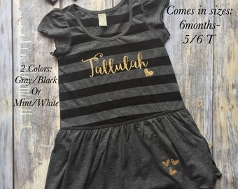 Girls Birthday Shirt, Girls Beach Cover Up, personalized girls dress, monogrammed girls Dress, Girls Striped Dress, Birthday Dress