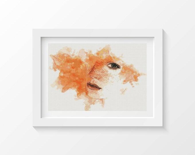 Cross Stitch Pattern PDF, Embroidery Chart, Art Cross Stitch, Woman Cross Stitch, The Elements: Fire (ART011)