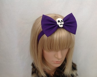 Large purple Violet skull headband hair bow rockabilly psychobilly cute pin up girl Halloween oversized big dark gothic skeleton punk ladies