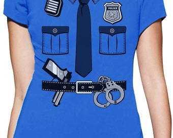 Police Cop Uniform Halloween Costume Women Short Sleeve T-Shirt