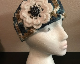 Crochet Ear Warmer / Headband with button closure / winter wear / READY TO SHIP / Any color available by request