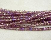 Czech Beads, 3mm English Cut, Czech Glass Beads - Luster Iris Amethyst (EC3/SM-LR2006) - Qty. 50
