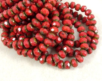 Czech Beads, 7x5mm Rondelle, Czech Glass Beads - Dark Coral Picasso (R7/RJ-0708) - Qty. 25