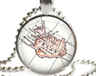 Iceland necklace pendant charm, Iceland Map Jewelry, Reykjavik Iceland Pendant gift idea, Gift for traveler, Iceland ornament
