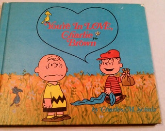 """Vintage Peanuts Hardcover, """"You're In Love, Charlie Brown"""" by Charles M. Schulz, 1968 First Edition."""