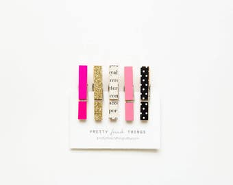 Pink and Gold Magnet Set - mini clothespins in neon pink, gold, and polka dot - set of 5