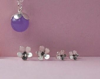 Silver Cherry Blossom Studs