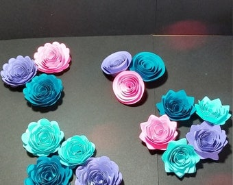 Rolled Paper Flowers For Your DIY Celebration, Colors To Match Your Decor, wedding,anniversary,bridal shower,birthday,swirled flowers