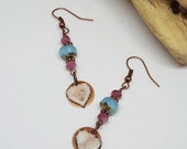 Pink Heart Earrings - Pink Earrings - Heart Earrings