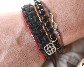 Mens 2mm Sandalwood Bead Bracelet - Sterling Silver Accent Beads