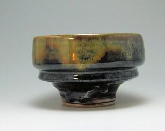 Matcha Tea Bowl, Serving Bowl, hand-thrown stoneware bowl, Large Bowl, Tenmoku multi-hued glaze.