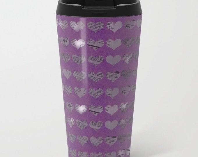 Purple Newspaper Heart Travel Mug Metal - Coffee Travel Mug - Hot or Cold Travel Mug - 15oz Mug - Stainless Steel - Made to Order