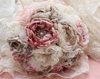 Bridal fabric bouquet vintage style, pink, ivory lace and satin handmade
