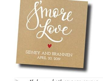Smore love stickers, smore lover tags, smore favor tags, smore bar, smores wedding favors, smores kit, wedding smores, smores station