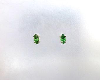 Faceted Tsavorite Garnet and Sterling Silver Stud Earrings