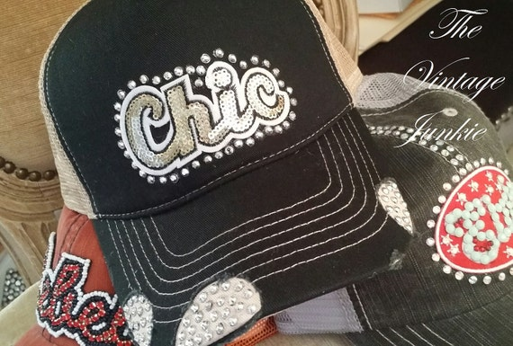 The Vintage Junkie...Bling Trucker Style Cap with Silver Rivet Crystals and Gold Sequin Applique