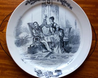 Antique French Plate Le Vin de Champagne, 19th c Pearlware Transferware Indoor Champagne Picnic w Toasting Couple, Creil & Montereau  France