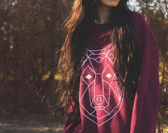 Unisex Boho Geometric Wolf Totem Pullover - 3 colors - Bohemian Spirit Animal Cotton Sweater   Indigo   Maroon   Navy