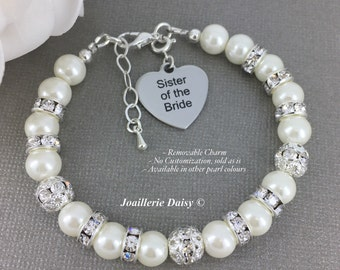 Sister of the Bride Bracelet, Gift for Sister in Law, Sister Bracelet, Pearl Bracelet, Bridal Party Jewelry, Gift for Sister of the Bride