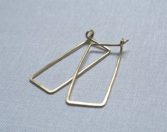 Gold Rectangle Hoop Earrings, Great Valentines Day Gift for Her