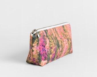 Pencil pouch in colorful floral print - Pink, purple makeup bag - Canvas travel zipper case - Cosmetics cotton zip pouch - Bridesmaid gift