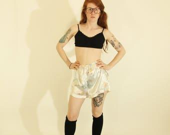 Vintage Floral Silky Shorts Pajama Shorts Lingerie Shorts Silky 90s Shorts Bloomers Floral Pattern Shorts