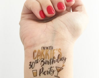 15 Custom Birthday Temporary Tattoos - Gold Glam!