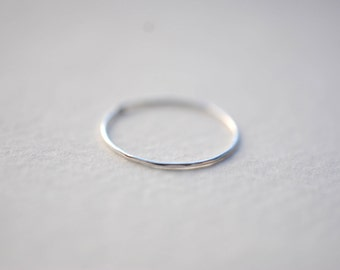 Ultra Thin Subtle Rustic Sterling Silver Rough Hammered Hand Fabricated Silver Ring Band