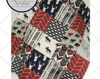 Baby Quilt Boy, Woodland Baby Bedding, Woodland Nursery Boy, Crib Bedding Deer, Navy Red Baby Bedding, Crib Bedding Woodland, The Big Aspen