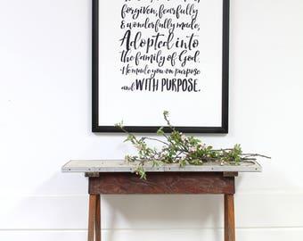 adoption gift - adoption sign - modern wall art - large wood sign - inspirational - framed sign - wooden sign - modern farmhouse