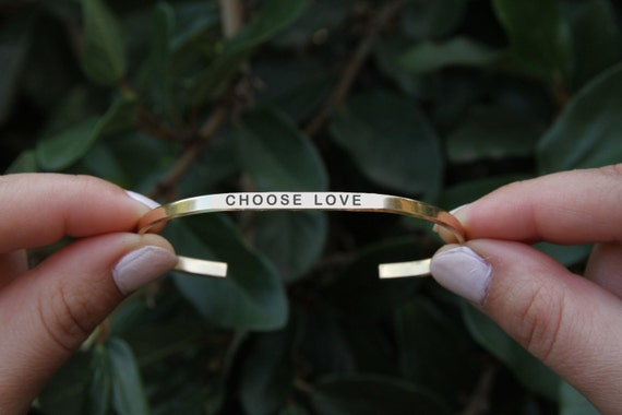 Choose love cuff. Yoga Jewelry. Quote jewelry. Thin cuff bracelet.
