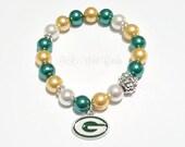 Greenbay Packers Beaded Bracelet, Football Bracelets, Team Spirit,Yellow, Green, Stretchy Bracelets, Womens, Handamade, Custom Jewelry
