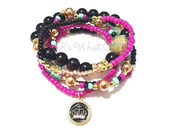 Beaded Bracelet Stack, Beaded Jewelry, Fucshia,Turquoise,Gold, Stretchy, Crown, Charm Bracelet, Minimalist, Handmade Custom Beaded Jewerly