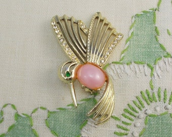 Vintage Pink and Gold Hummingbird Brooch  2931