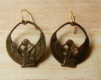 Vintage Egyptian Hoops, Isis Earrings, Ancient Egypt, Goddess, Ancient Egypt, Goddess Earrings, Goddess Dangles, Egyptian Goddess