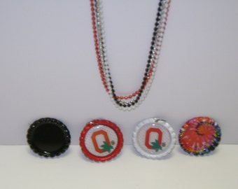 Ohio State Flattened Bottle Cap Necklace!Choice of Necklace, Pins, Magnets, Pendant(No Hole), Pendant(With Hole), Ornaments!