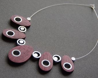 Purpleheart Wood and Aluminum Necklace
