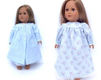 18 Inch Doll Clothes, Nightgown and Robe, Blue Polka Dot and Floral, 18 Inch Doll Nightgown and Robe