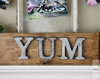 Galvanized Yum Sign