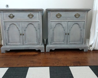 Charming and Unique Pair of Grey Vintage Nightstand/End Tables/Side Tables - Pair of Grey Tables