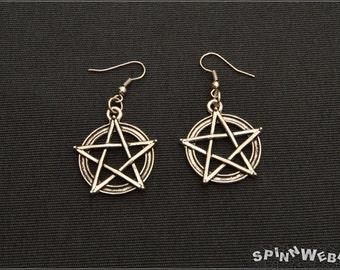 New! Pentacle Earrings - pendant, silver, filigree, metal, handmade