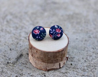 Tiny Floral Fabric Button Earrings // Navy Pink // Retro Earrings // Vintage Earrings // Covered Buttons // Studs // Colorful Earrings