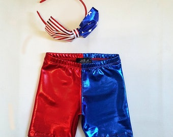 Harley Quinn inspired  KIDS Suicide squad Red Blue metallic shorts joker suiside squad 4th of july