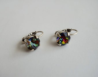 Swarovski Earrings, Antique Silver Plated , Prong Set Vitrail Medium Crystal Lever Backs, Colorful, Fiery