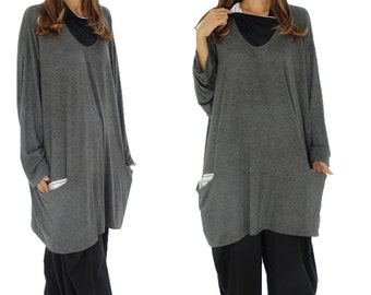 HR900AN1 tunic layered look shirt size 40 42 44 46 48 50 52 anthracite vintage