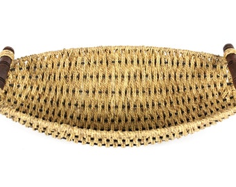 Woven Large Oval Basket with Wood Handles