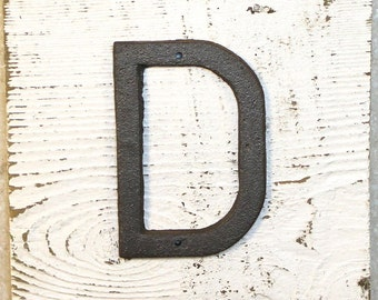 D - 5 Inch Metal Letter D - WITH DRILL HOLES for Mounting