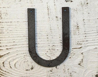 U - 5 Inch Metal Letter U- WITH DRILL HOLES