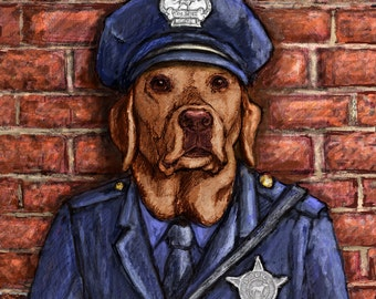 Police Officer Chocolate Lab