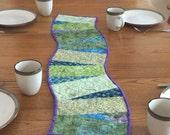 Quilted Table Runner, Modern Table Runner, Contemporary Quilt, Curved table runner, Table Topper, Dresser Scarf,  Art Quilt